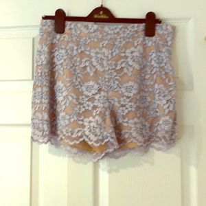 DVF Fausta lace shorts, size 10. Lilac/nude lace
